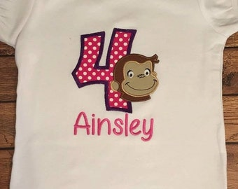 Pink and Purple Birthday Monkey Embroidered Shirt or Baby Bodysuit
