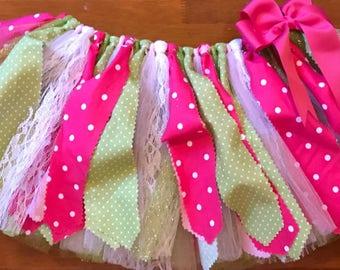 Pink, Green, and White Scrap Fabric Tutu