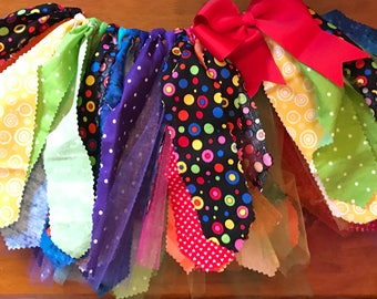 Rainbow Scrap Fabric and Tulle Tutu