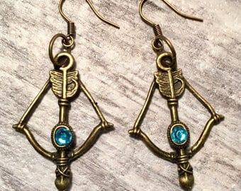 Aqua Blue Bronze Bow and Arrow Earrings, Medieval Earrings, Cosplay Earrings, Medieval archery