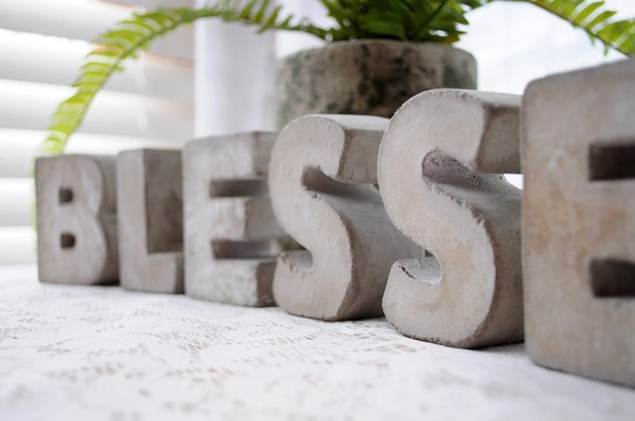 3 concrete letters blessed sign full word free standing concrete words alphabet letters home decor letters cement letters industrial decor