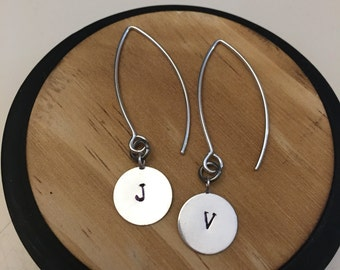 Custom initial drop earrings