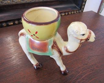 Vintage Fired Pottery Camel Planter