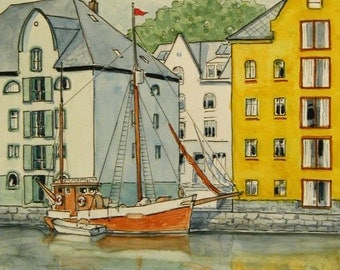 NEW - Alesund, Norway Limited Edition Watercolor print coastal cruise travel Europe