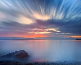 """Ocean Sunrise photography greeting card - 5x7"""" frameable"""