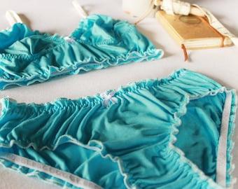 turquoise lingerie, something blue wedding lingerie set, brocante ruffle bralette