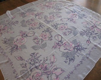 1950's Large 100% Silk Scarf Pink/Gray Floral Delicate and Perfect!