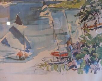 Beautiful Vintage 60's Watercolor Sailboat Print Framed