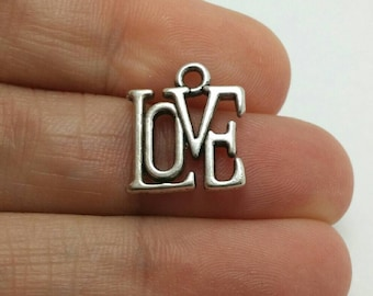 BULK 30 Love Word Charms, Valentines Day Charms, Silver Love Charms, Bulk Charms (5-1161)