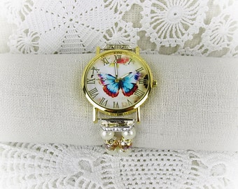 Wrist watch quartz watch bracelet ladies watch beads glass beads Butterfly