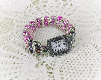 Wrist watch quartz watch bracelet ladies watch beads crystal glass beads