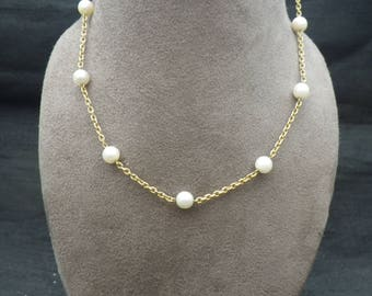 Vintage 18ct Yellow Gold and Pearl Necklace Chain