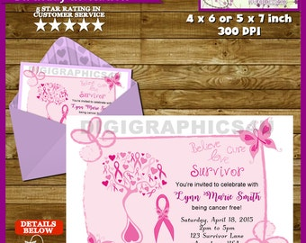 Breast Cancer Awareness Survivor Celebratory Party Invitation - Personalized Printable File
