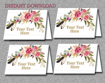 Gold Floral Boho EDITABLE Tent Cards Floral Food Place Cards, Buffet Labels, tent cards, Wedding Printable You Edit - INSTANT DOWNLOAD 025