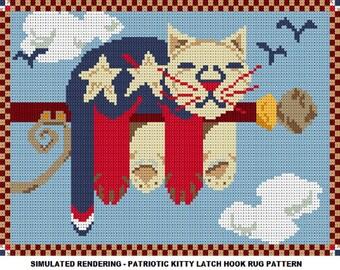 Patriotic Kitty Latch Hook Rug Pattern - PDF Instant Download