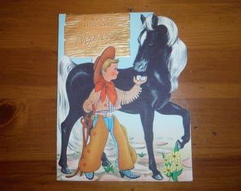 Vintage Boy's Cowboy Birthday Card - Vintage 1950's Cowboy Nephew Birthday Card - Vintage Nephew Birthday Card - Vintage Cowboy Ephemera