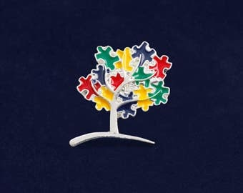25 Autism Tree Pins in Bags (25 Pins) (P-135-2)