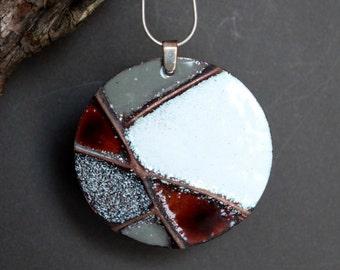 Enamel pendant, enamel jewelry, copper jewelry, disc pendant, modern pendant, women's jewelry, silver jewelry