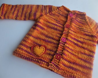 Hand Knitted Baby Sweater, Wool Baby Sweater, Girl Wool Sweater, 0-6 months