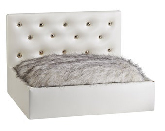 White Headboard Dog Bed, Pet Bed, Pet Furniture, Luxury Dog Bed, Contemporary Pet Bed, Upscale Pet Bed