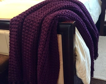 Deep Royal Purple Crocheted Throw Blanket With Fringe