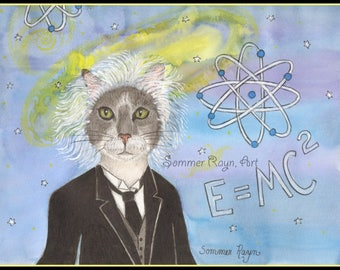Albert Einstein cat,  physicist, E = MC2, scientist, whimsical kitty card or print - Cats, Drawing with watercolor accents, Item #0561a