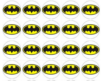 Batman logo wafer paper edible cake toppers birthday decorations x 30