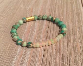 Ethiopian opal & garden green sea jasper beads bracelet~ stretch-stack ~accent gold vermeil hammered bead