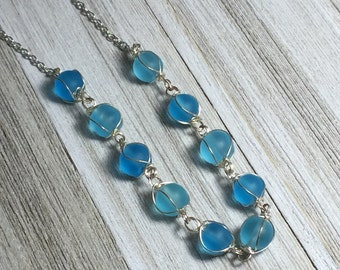Blue and Silver Beaded Necklace, Blue and Silver Necklace, Wire Wrapped Necklace