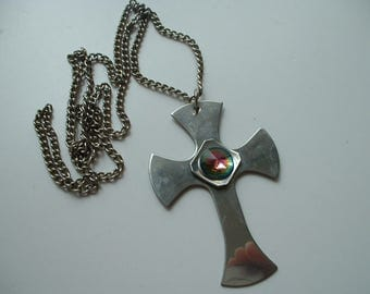 Large cross pendant and long chain