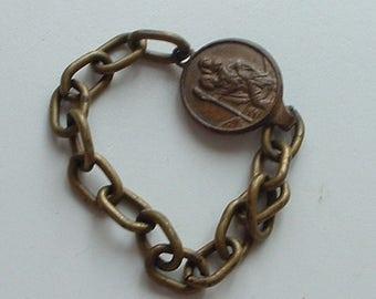 Vintage brass St Christopher baby bracelet