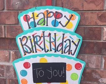 Birthday Door Hanger, Birthday Wreath, Happy Birthday Door Hanger, Birthday Decor, Happy Birthday Wreath Birthday Cake Door Hanger