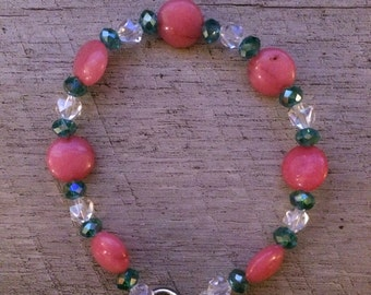 Pink and teal hand beaded bracelet