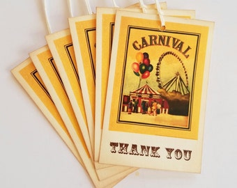 Carnival, Thank You Tags, Carnival Theme, Circus Theme, Vintage Inspired, Birthday Party, Baby Shower, Favor Tags, GiftTags, Set of 6 or 12