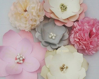 Large paper flowers, pink, gray, cream, gold, blush set of 6 flowers in premium cardstock and tissue for backdrops and photos