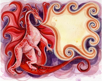 """FireDrake 5x7"""" Print from the book, Myths of Legend."""