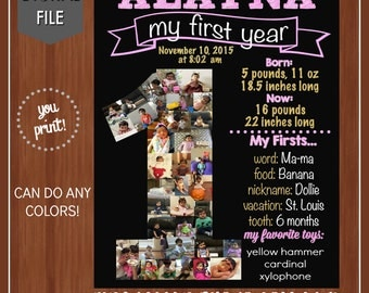 ON SALE - Baby's First Year Collage Poster - Digital - Photo Collage - First Birthday Chalkboard - One Year Old Party Decor - First Birthday