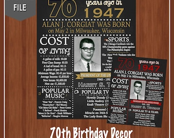 70th Birthday Sign - 70th Birthday - Fun Facts from 1947 - Adult Birthday Chalkboard - Digital - Party Decor - 70 Years Old - Fun Party