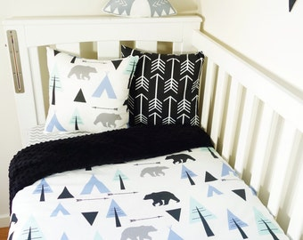 Mint, blue and black bear, teepee forest nursery items