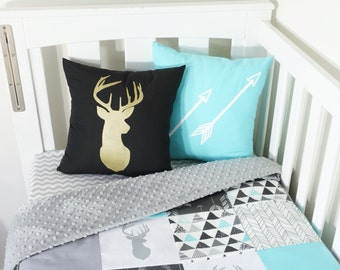 Aqua, black and grey deer patchwork nursery items (grey minky quilt backing)