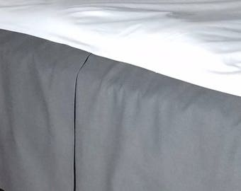 Charcoal Gray Pleated Bed Skirt with a Tailored Finsh