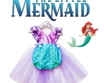 The Little Mermaid Inspired Romper / Sequin Romper / Disney Inspired Romper / Ariel Romper