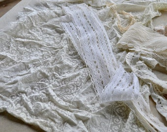 Destash Lot of Antique and Vintage Lace, Crochet, Upcycle Crafting, Sewing, Quilting, Reclaimed Linens, 18 Pieces, GB5