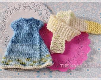 Handmade knitting Dress set for Blythe.