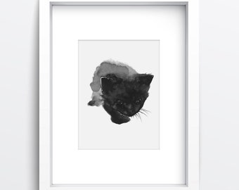 Black Cat Watercolor Painting, Peeking Cat Giclee Fine Art Print, Animal Home Decor, Abstract Wall Hanging, Black and White Modern Pet Art