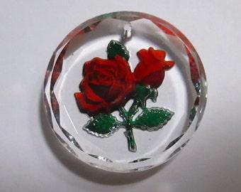 1 Vintage German Glass Back Etched Rose Pendant