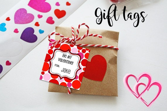 Valentine Cards - Printable - Valentine's Tags - Dots - Pink - Red - Gift Tags