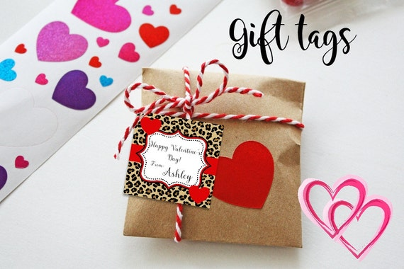 Valentine Cards - Printable - Valentine's Tags - Leopard Print - Cheetah - Gift Tags - Animal Print Gift Tags