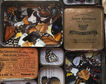 Lucky Hit vintage tin with butterfly wing collage inside...