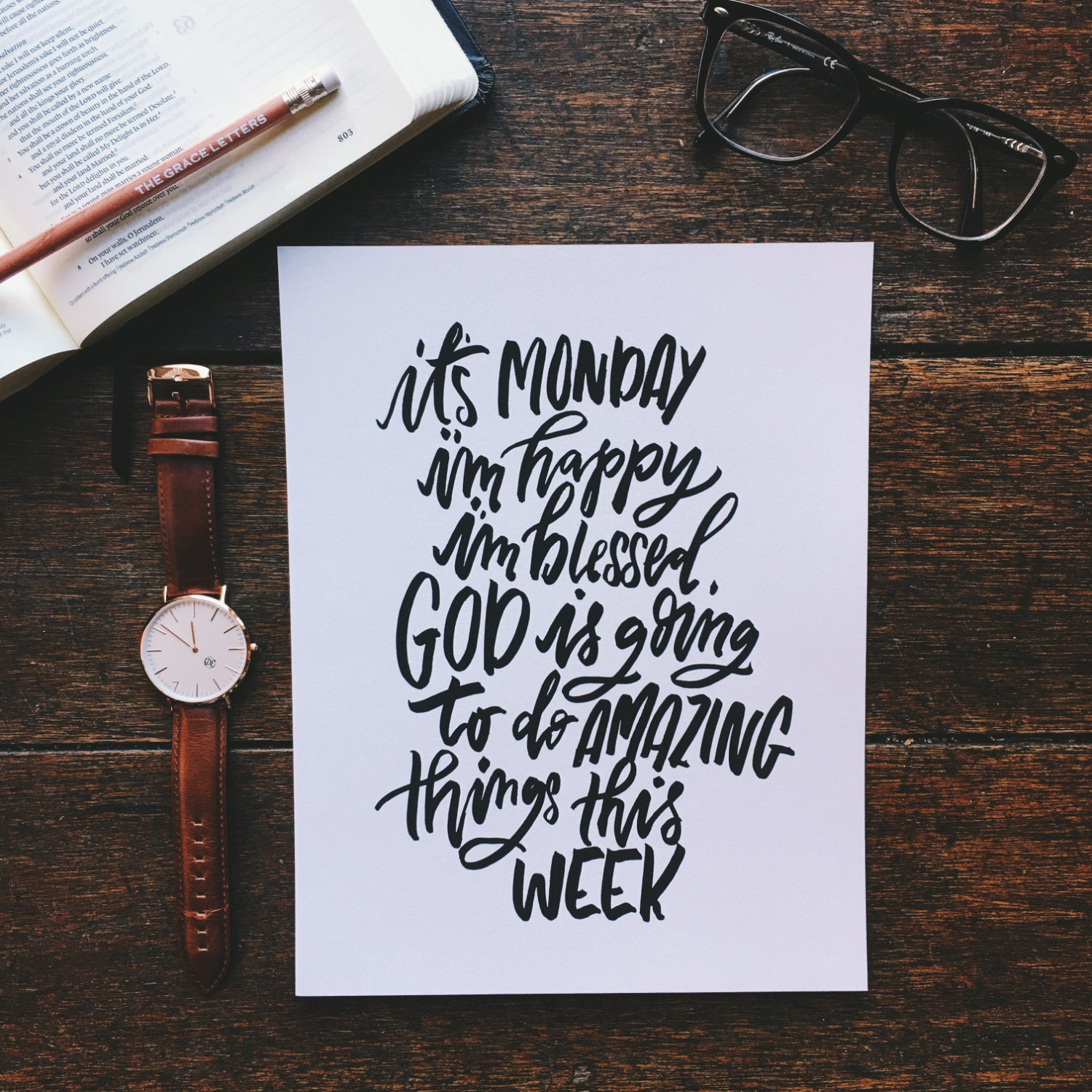 Monday Inspiration Print, Hand Lettered Print, Christmas Gifts For  Believers, Christian Wall Art, Home Office Decor, Inspirational Art